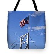 Flag On Perkins Cove Bridge - Maine Tote Bag