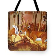 Flagging Deer Tote Bag