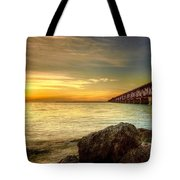 Flagler Bridge At Sunset Tote Bag