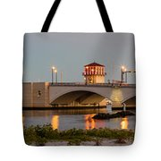 Flagler Bridge In Lights Panorama Tote Bag