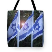 Flags Of Israel Blowing In The Wind Tote Bag
