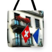 Flags Of Switzerland And Zurich Tote Bag
