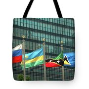 Flags Of Various Nations Outside The United Nations Building. Tote Bag