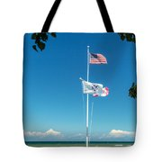 Flags On The Shoreline Tote Bag