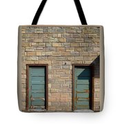 Flagstone Wall And Two Green Doors Tote Bag