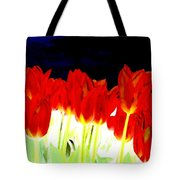 Flaming Red Tulips Tote Bag