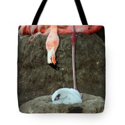 Flamingo And Chick Tote Bag