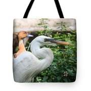Flamingo Gardens - Great Egret Profile Tote Bag
