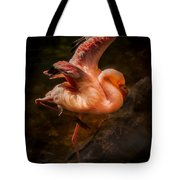 Flamingo In Darkness Tote Bag