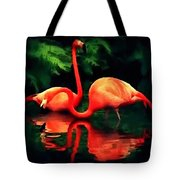 Flamingos - 1 H B Tote Bag