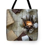 Flat Lay Camp Fire S'mores Deconstructed Tote Bag