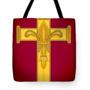 Fleur De Lis In Cross On Red Tote Bag