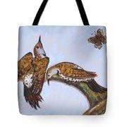 Flickers Dancing Wild Animal Vignette From River Mural Tote Bag