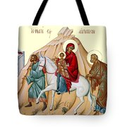 Flight Into Egypt Painting At Shepherds Field Tote Bag