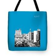 Flint Michigan Skyline - Aqua Tote Bag
