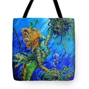 Floating Blond Mermaid Tote Bag