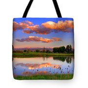 Floating Clouds And Reflections Tote Bag