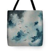 Flock Of Birds Against A Dark Sky  Tote Bag