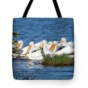 Flock Of White Pelicans Tote Bag