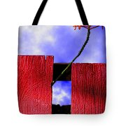 Flora And The Red Fence Tote Bag