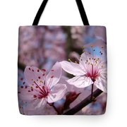 Floral Art Pink Spring Blossoms Prints Blue Sky Baslee Troutman Tote Bag
