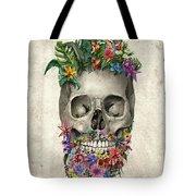 Floral Beard Skull Tote Bag