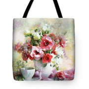 Floral Bouquet Table Setting In Tiny Bubbles Tote Bag