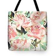 Floral Cranes Tote Bag