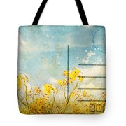Floral In Blue Sky Postcard Tote Bag by Setsiri Silapasuwanchai