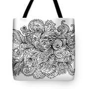 Black And White Floral Indian Pattern Tote Bag