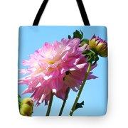 Floral Landscape Art Print Pink Dahlia Flower Blue Sky Canvas Baslee Troutman Tote Bag