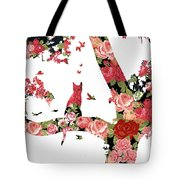 Floral Minimalist Style Cat, Tree And Birds Tote Bag