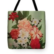 Floral On Green Tote Bag