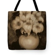 Floral Puffs In Brown Tote Bag