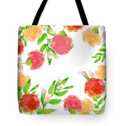 Floral Watercolor Border  Tote Bag