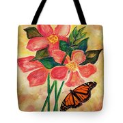 Floral With Butterfly Tote Bag