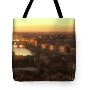 Florence And The Ponte Vecchio Dusk, Tuscany, Italy Tote Bag
