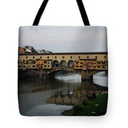 Florence Italy - An Autumn Day At Ponte Vecchio Tote Bag