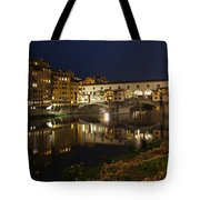 Florence Italy Night Magic - A Glamorous Evening At Ponte Vecchio Tote Bag