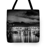 Florence Ponte Vecchio At Sunset Monochrome Tote Bag