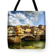 Florence -  Ponte Vecchio From The Northwestern Bank - Vintage Tote Bag