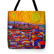 Florence Sunset 10 Modern Impressionist Abstract City Knife Oil Painting Ana Maria Edulescu Tote Bag