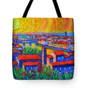 Florence Sunset 4 Modern Impressionist Abstract City Impasto Knife Oil Painting Ana Maria Edulescu Tote Bag