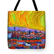 Florence Sunset 5 Modern Impressionist Abstract City Impasto Knife Oil Painting Ana Maria Edulescu Tote Bag