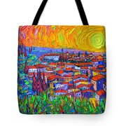 Florence Sunset 7 Modern Impressionist Abstract City Impasto Knife Oil Painting Ana Maria Edulescu Tote Bag