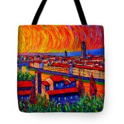 Florence Sunset 9 Modern Impressionist Abstract City Impasto Knife Oil Painting Ana Maria Edulescu Tote Bag