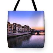 Florence Or Firenze, Ponte Santa Trinita Medieval Bridge Landmark On Arno River And A Boat, Sunset L Tote Bag