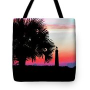 Florida Lighthouse Sunset Silhouette Tote Bag