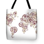 Florida State University Colors Swirl Map Of The World Atlas Tote Bag