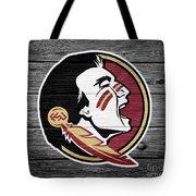 Florida State University Seminoles Logo On Weathered Wood Tote Bag